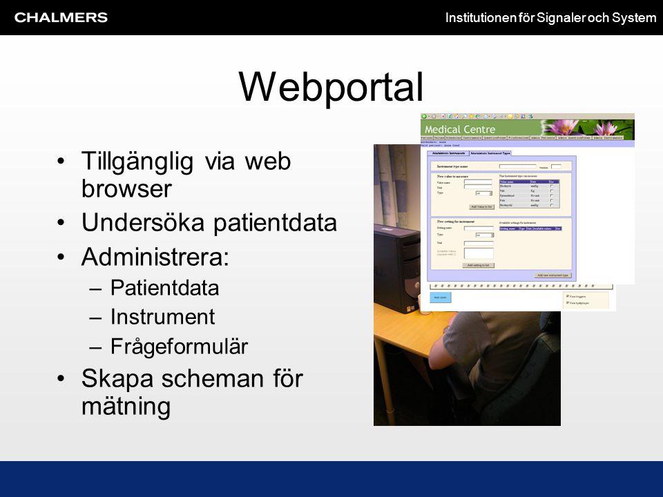 Institutionen för Signaler och System Webportal •Tillgänglig via web browser •Undersöka patientdata •Administrera: –Patientdata –Instrument –Frågeform