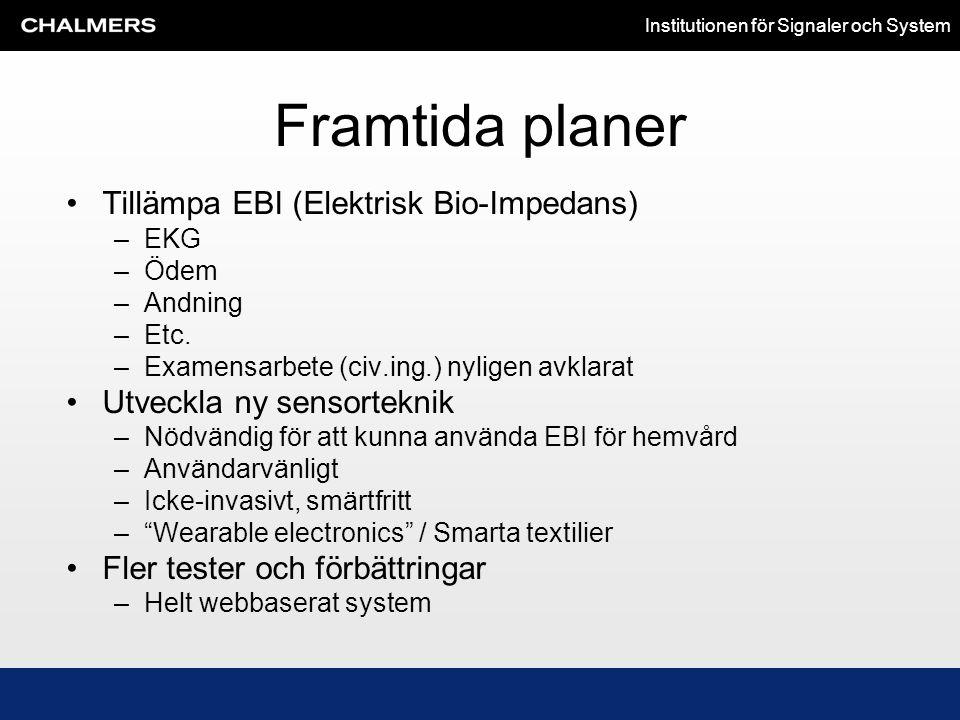 Institutionen för Signaler och System Framtida planer •Tillämpa EBI (Elektrisk Bio-Impedans) –EKG –Ödem –Andning –Etc. –Examensarbete (civ.ing.) nylig