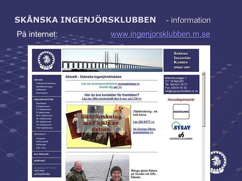 SKÅNSKA INGENJÖRSKLUBBEN ww wwww wwww....