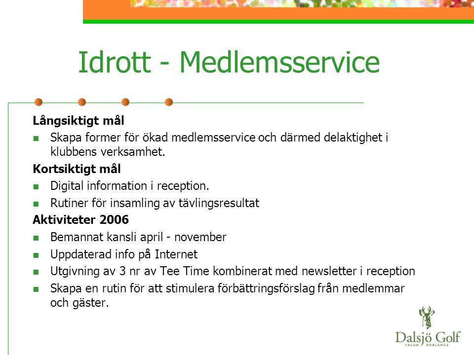 Idrott - Medlemsservice Långsiktigt mål  Skapa former för ökad medlemsservice och därmed delaktighet i klubbens verksamhet. Kortsiktigt mål  Digital
