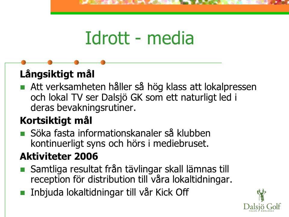 Idrott - media Långsiktigt mål  Att verksamheten håller så hög klass att lokalpressen och lokal TV ser Dalsjö GK som ett naturligt led i deras bevakn