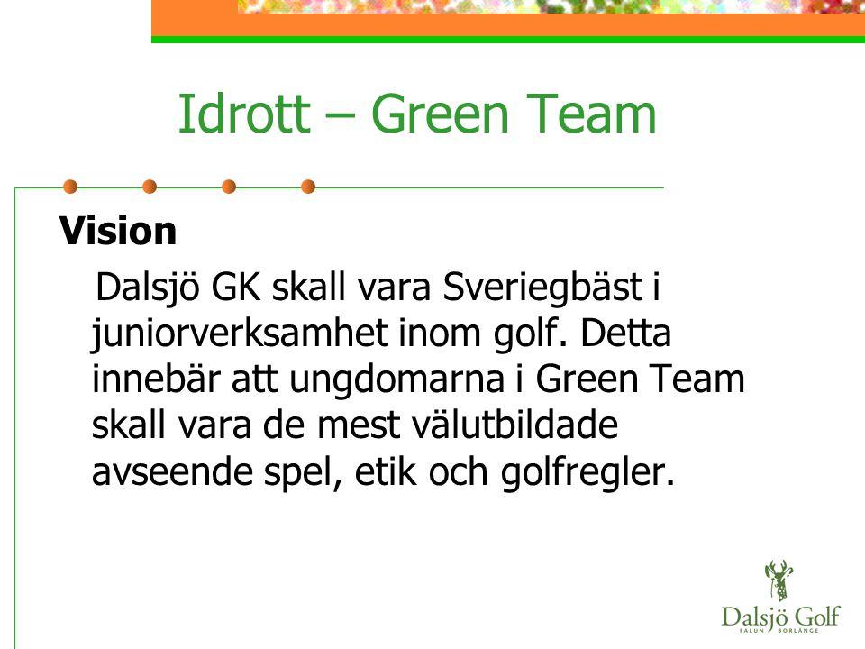 Idrott – Green Team Vision Dalsjö GK skall vara Sveriegbäst i juniorverksamhet inom golf. Detta innebär att ungdomarna i Green Team skall vara de mest