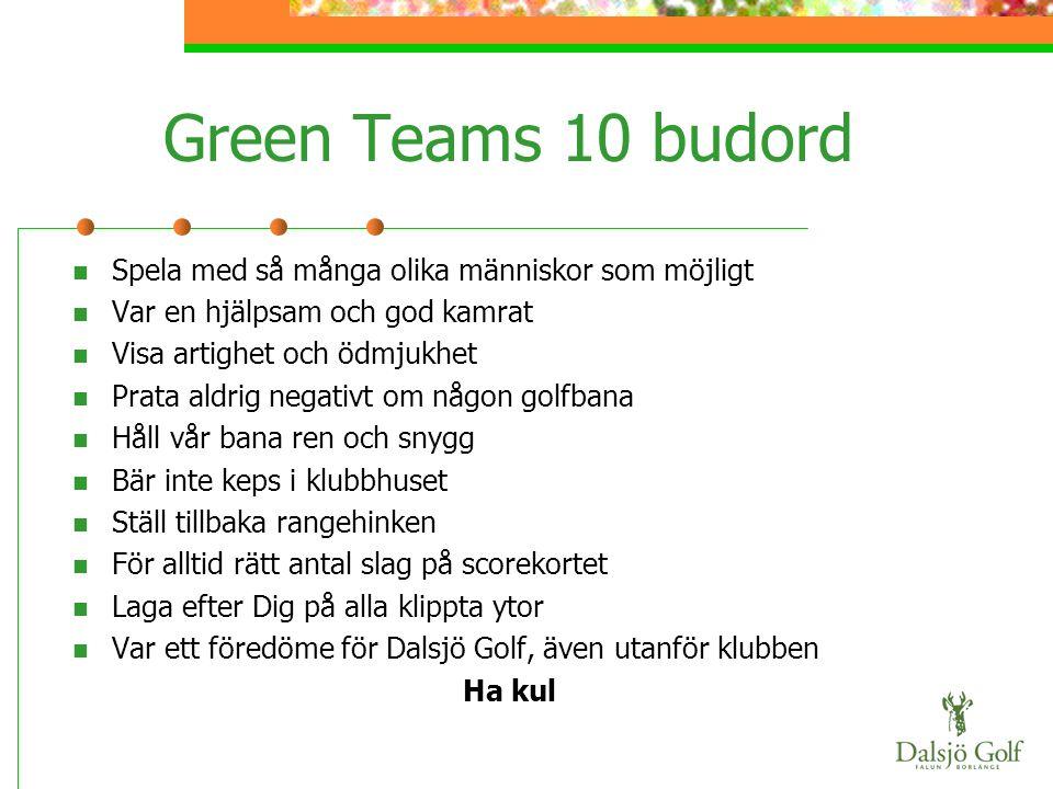 Green Teams 10 budord  Spela med så många olika människor som möjligt  Var en hjälpsam och god kamrat  Visa artighet och ödmjukhet  Prata aldrig n