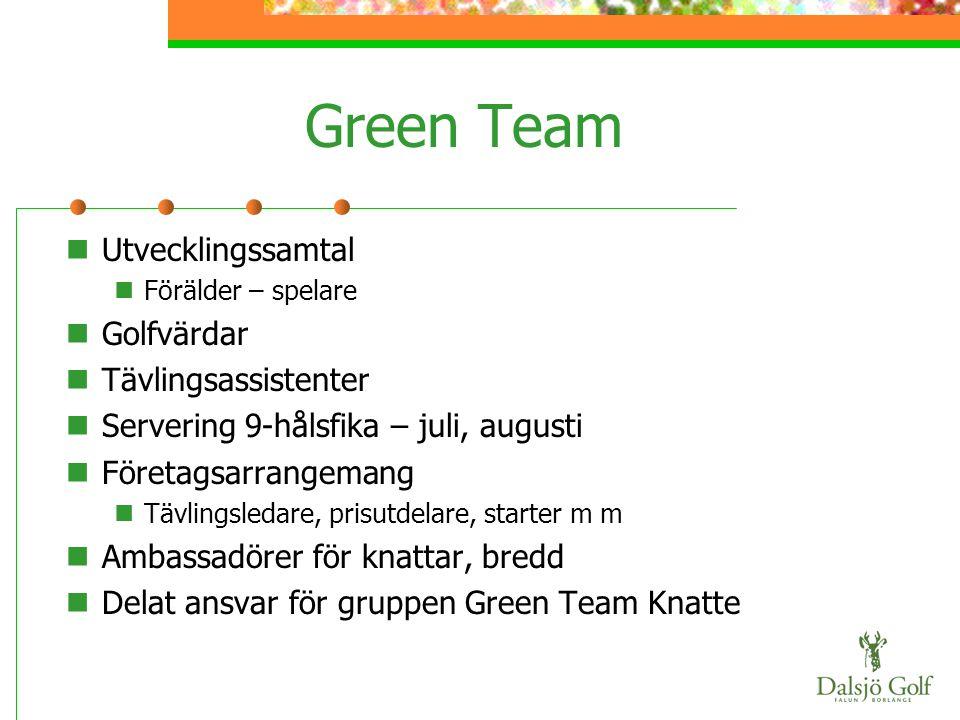 Green Team  Utvecklingssamtal  Förälder – spelare  Golfvärdar  Tävlingsassistenter  Servering 9-hålsfika – juli, augusti  Företagsarrangemang 