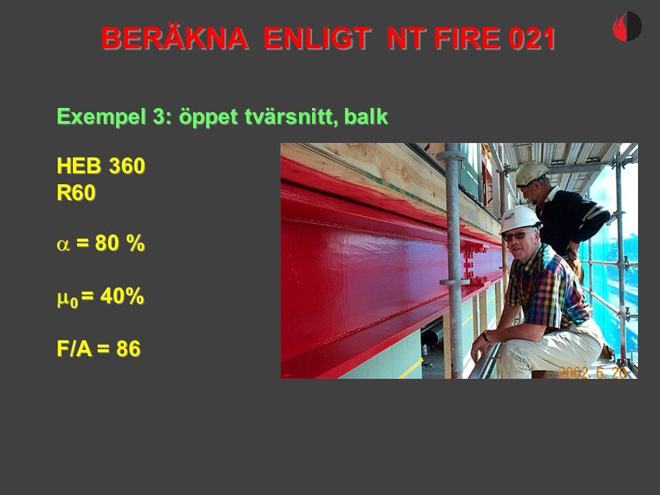 Exempel 3: öppet tvärsnitt, balk HEB 360 R60 HEB 360 R60  = 80 %  0 = 40% F/A = 86  = 80 %  0 = 40% F/A = 86 BERÄKNA ENLIGT NT FIRE 021