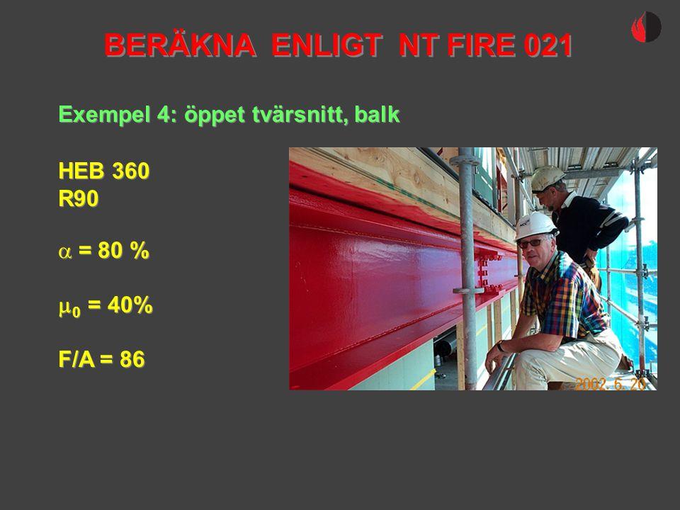 Exempel 4: öppet tvärsnitt, balk HEB 360 R90 HEB 360 R90  = 80 %  0 = 40% F/A = 86  = 80 %  0 = 40% F/A = 86 BERÄKNA ENLIGT NT FIRE 021