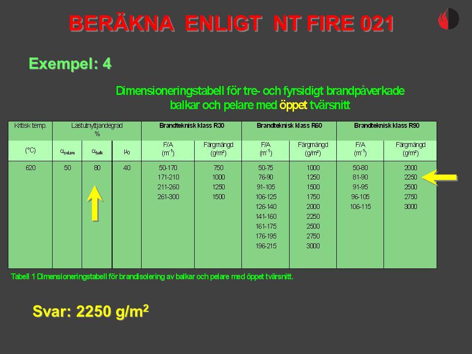 Exempel: 4 Svar: 2250 g/m 2