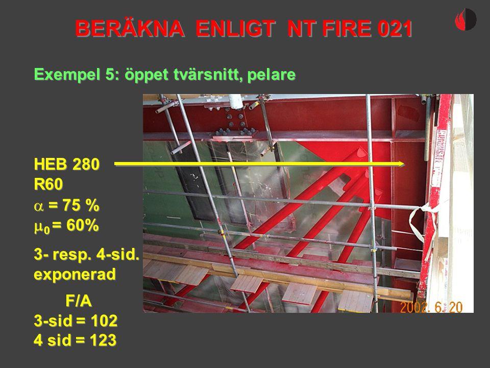 Exempel 5: öppet tvärsnitt, pelare HEB 280 R60 HEB 280 R60  = 75 %  0 = 60%  = 75 %  0 = 60% BERÄKNA ENLIGT NT FIRE 021 3- resp. 4-sid. exponerad
