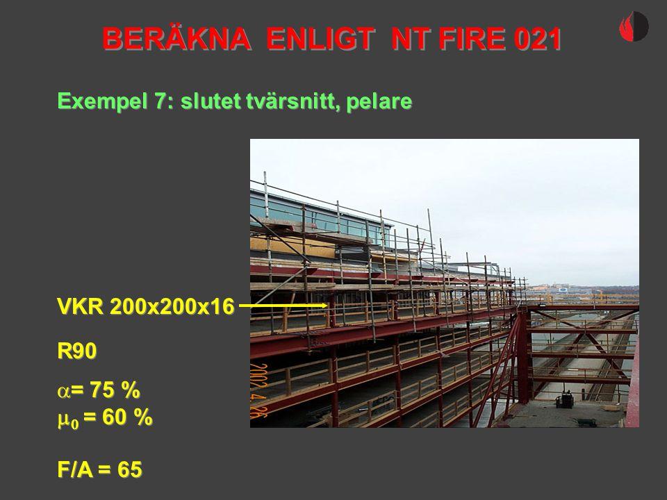 Exempel 7: slutet tvärsnitt, pelare VKR 200x200x16 R90  = 75 %   = 60 % F/A = 65  = 75 %   = 60 % F/A = 65 BERÄKNA ENLIGT NT FIRE 021
