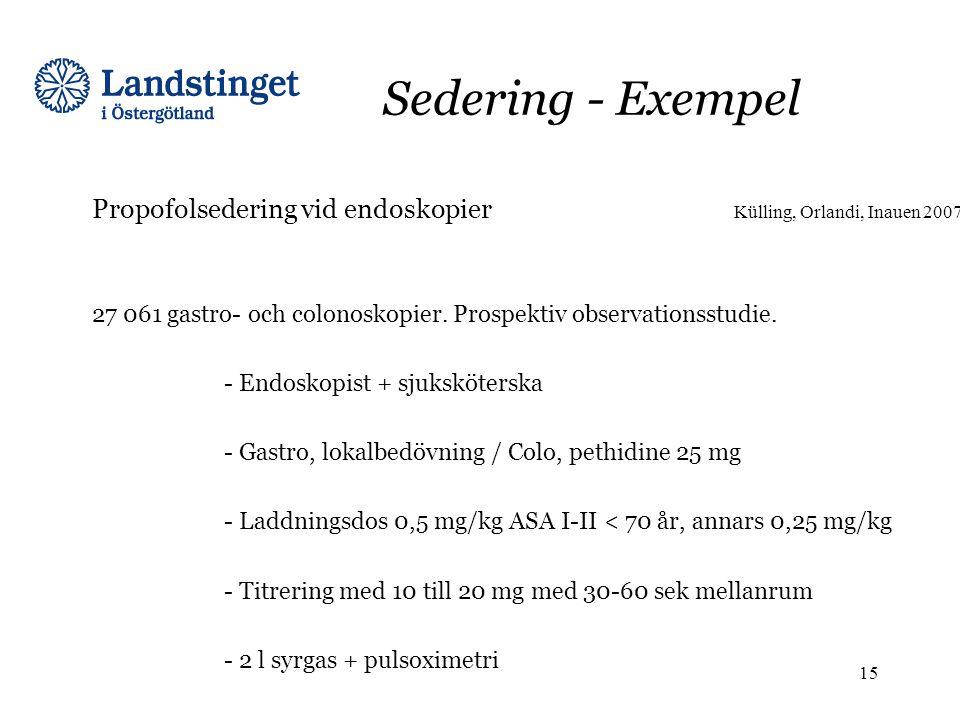 Sedering - Exempel Propofolsedering vid endoskopier Külling, Orlandi, Inauen 2007 27 061 gastro- och colonoskopier. Prospektiv observationsstudie. - E