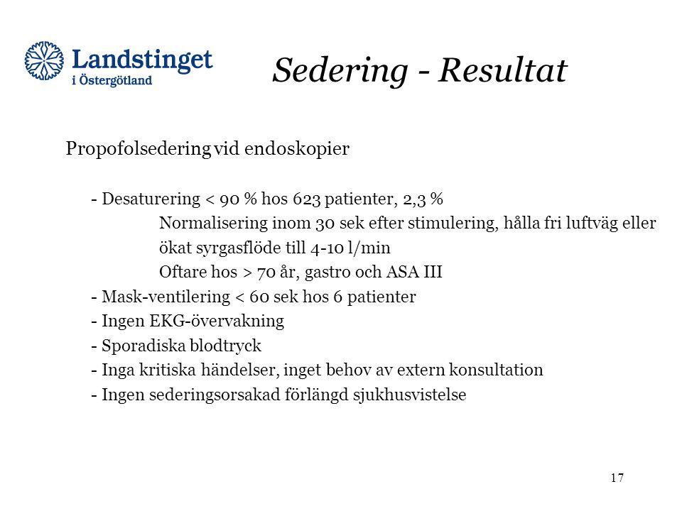Sedering - Resultat Propofolsedering vid endoskopier - Desaturering < 90 % hos 623 patienter, 2,3 % Normalisering inom 30 sek efter stimulering, hålla