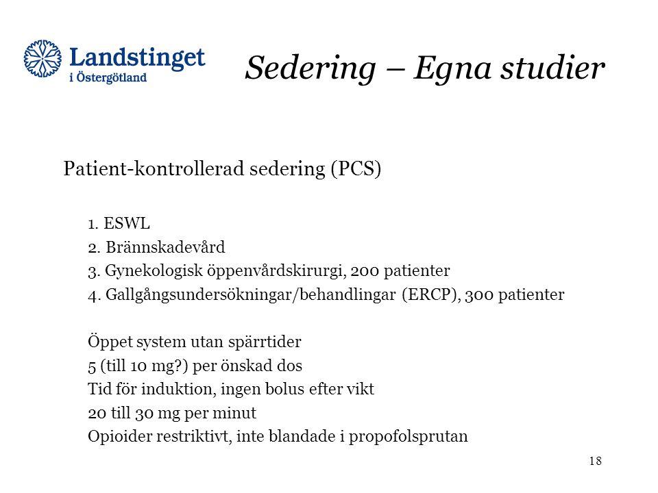 Sedering – Egna studier Patient-kontrollerad sedering (PCS) 1. ESWL 2. Brännskadevård 3. Gynekologisk öppenvårdskirurgi, 200 patienter 4. Gallgångsund
