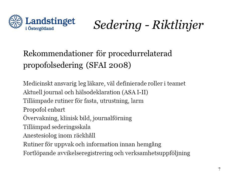Sedering - Riktlinjer Rekommendationer för procedurrelaterad propofolsedering (SFAI 2008) Medicinskt ansvarig leg läkare, väl definierade roller i tea