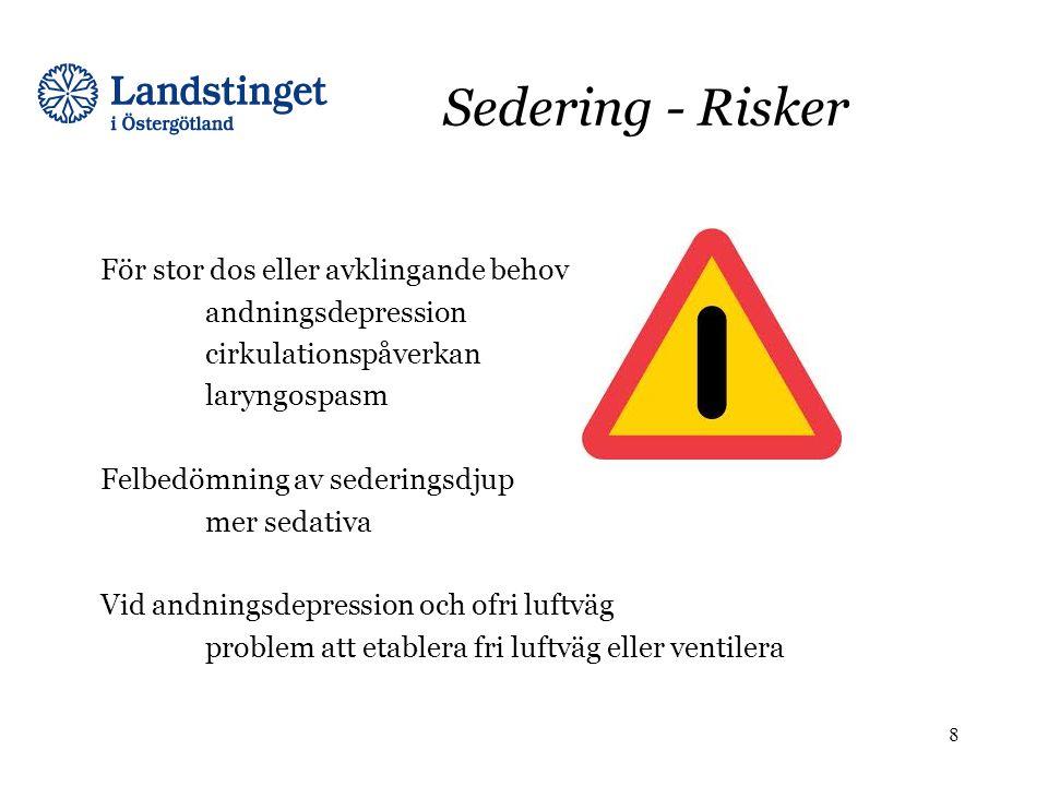 Sedering - Risker För stor dos eller avklingande behov andningsdepression cirkulationspåverkan laryngospasm Felbedömning av sederingsdjup mer sedativa