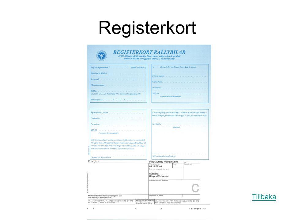 Registerkort Tillbaka