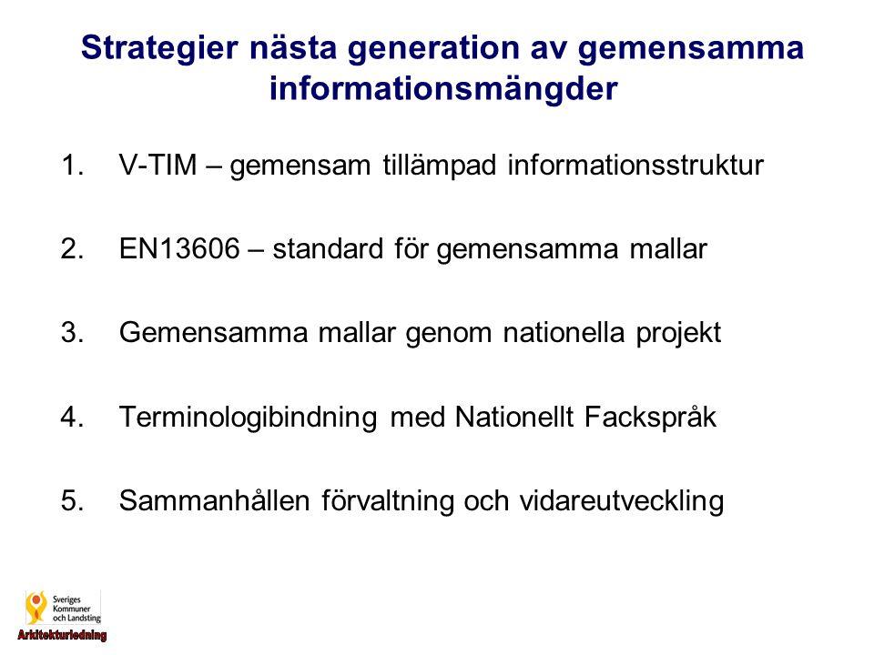 1.V-TIM – gemensam tillämpad informationsstruktur 2.EN13606 – standard för gemensamma mallar 3.Gemensamma mallar genom nationella projekt 4.Terminologibindning med Nationellt Fackspråk 5.Sammanhållen förvaltning och vidareutveckling Strategier nästa generation av gemensamma informationsmängder