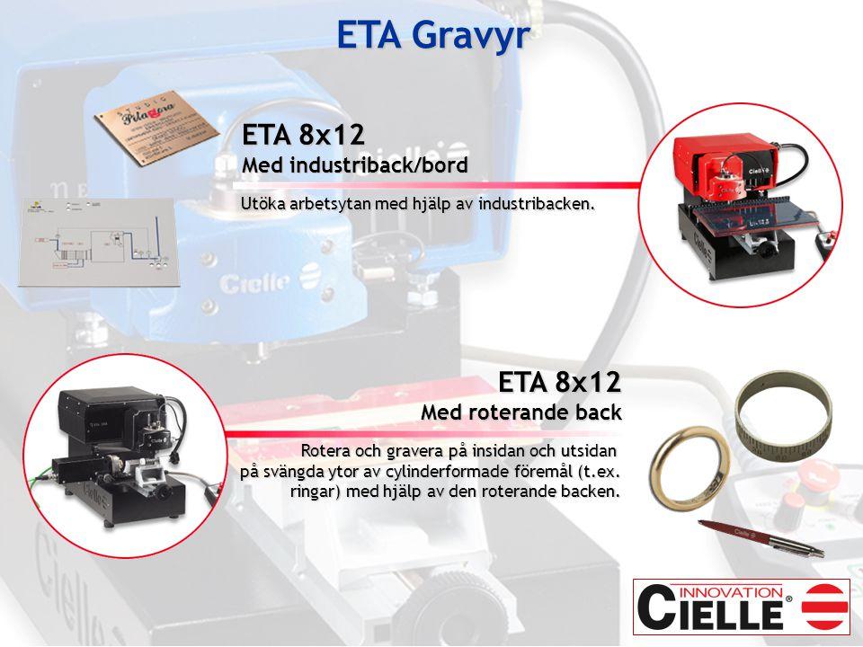 ETA 8x12 Med industriback/bord Utöka arbetsytan med hjälp av industribacken.