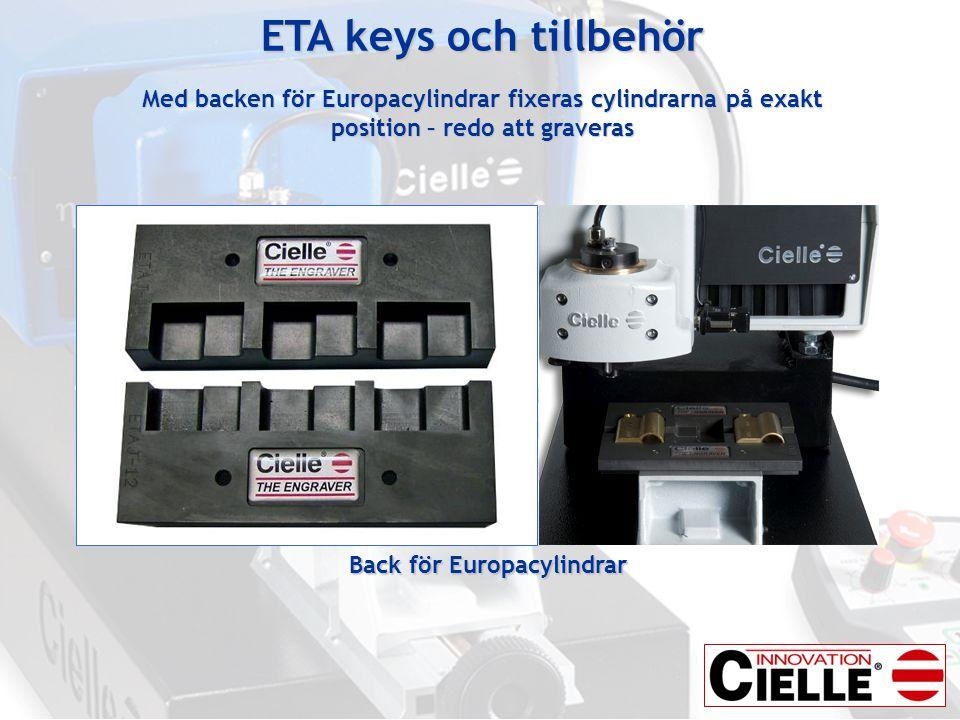 ETA keys och tillbehör Med backen för Europacylindrar fixeras cylindrarna på exakt position – redo att graveras Back för Europacylindrar