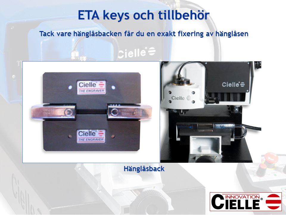 ETA keys och tillbehör Tack vare hänglåsbacken får du en exakt fixering av hänglåsen Hänglåsback