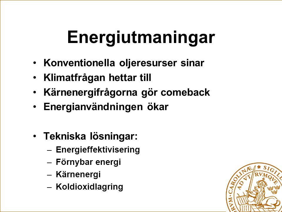 Energiutmaningar •Konventionella oljeresurser sinar •Klimatfrågan hettar till •Kärnenergifrågorna gör comeback •Energianvändningen ökar •Tekniska lösningar: –Energieffektivisering –Förnybar energi –Kärnenergi –Koldioxidlagring