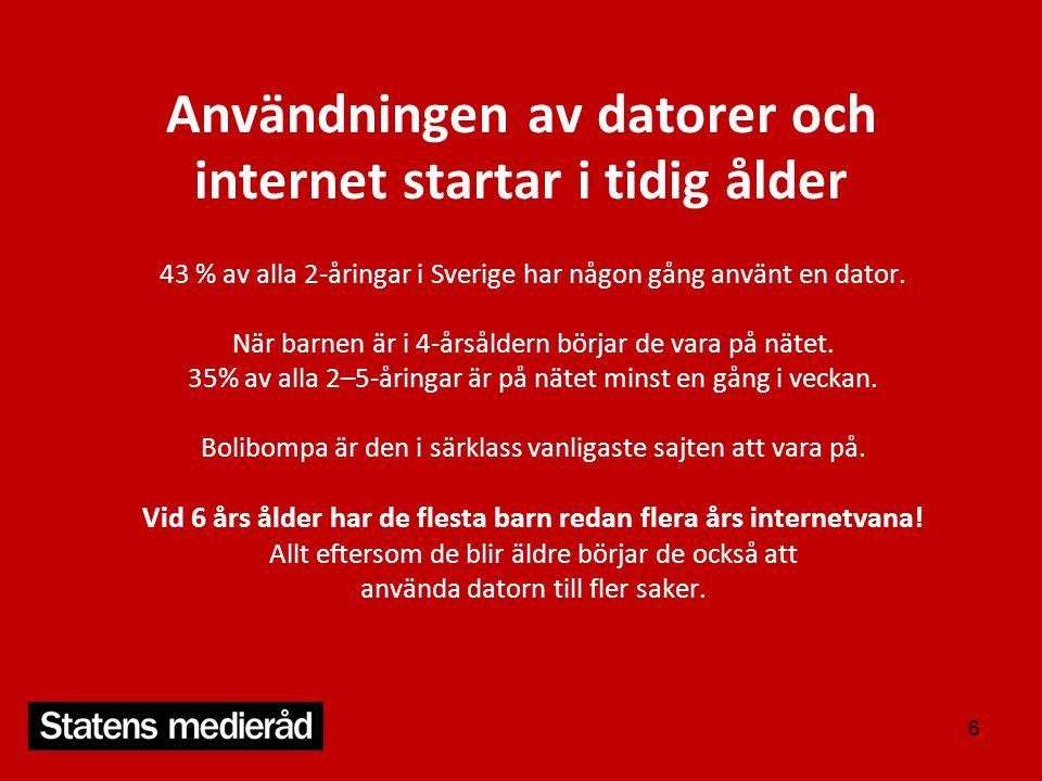 Användningen av datorer och internet startar i tidig ålder 43 % av alla 2-åringar i Sverige har någon gång använt en dator. När barnen är i 4-årsålder
