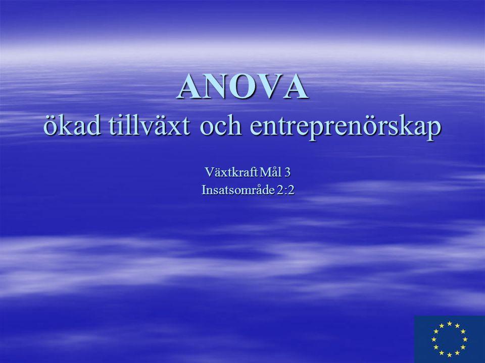 ANOVA ökad tillväxt och entreprenörskap Växtkraft Mål 3 Insatsområde 2:2