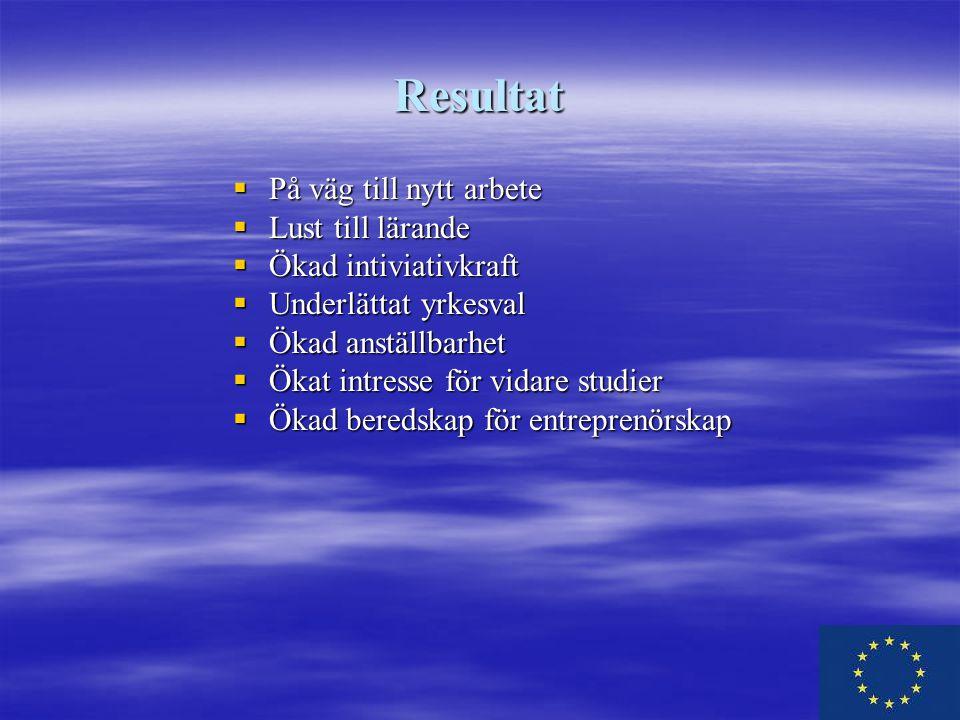Resultat  På väg till nytt arbete  Lust till lärande  Ökad intiviativkraft  Underlättat yrkesval  Ökad anställbarhet  Ökat intresse för vidare studier  Ökad beredskap för entreprenörskap