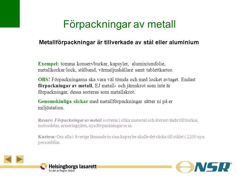 Förpackningar av metall Metallförpackningar är tillverkade av stål eller aluminium Exempel: tomma konservburkar, kapsyler, aluminiumfolie, metallkorka