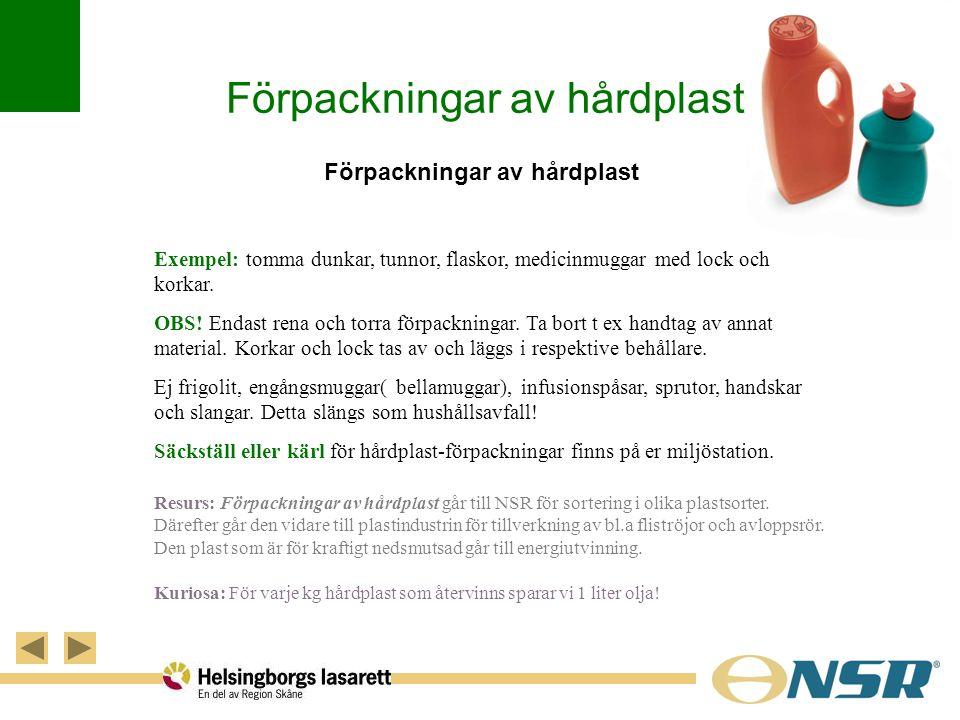 Förpackningar av hårdplast Exempel: tomma dunkar, tunnor, flaskor, medicinmuggar med lock och korkar. OBS! Endast rena och torra förpackningar. Ta bor