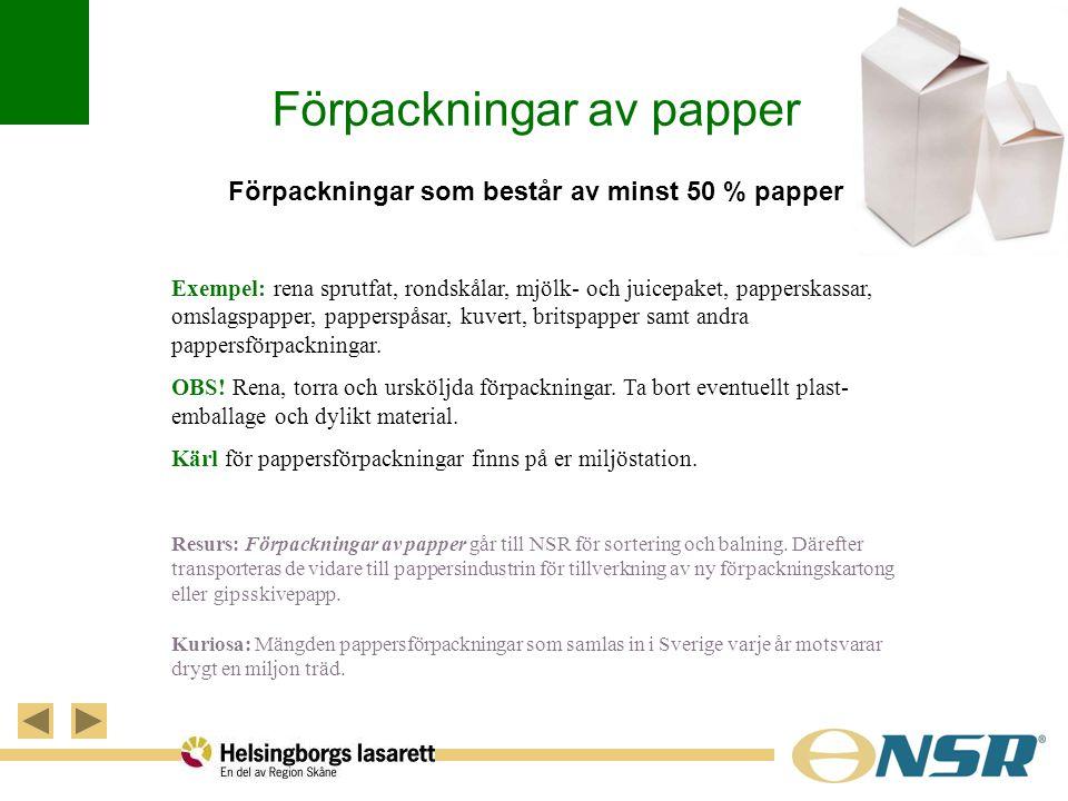 Förpackningar av papper Förpackningar som består av minst 50 % papper Exempel: rena sprutfat, rondskålar, mjölk- och juicepaket, papperskassar, omslag