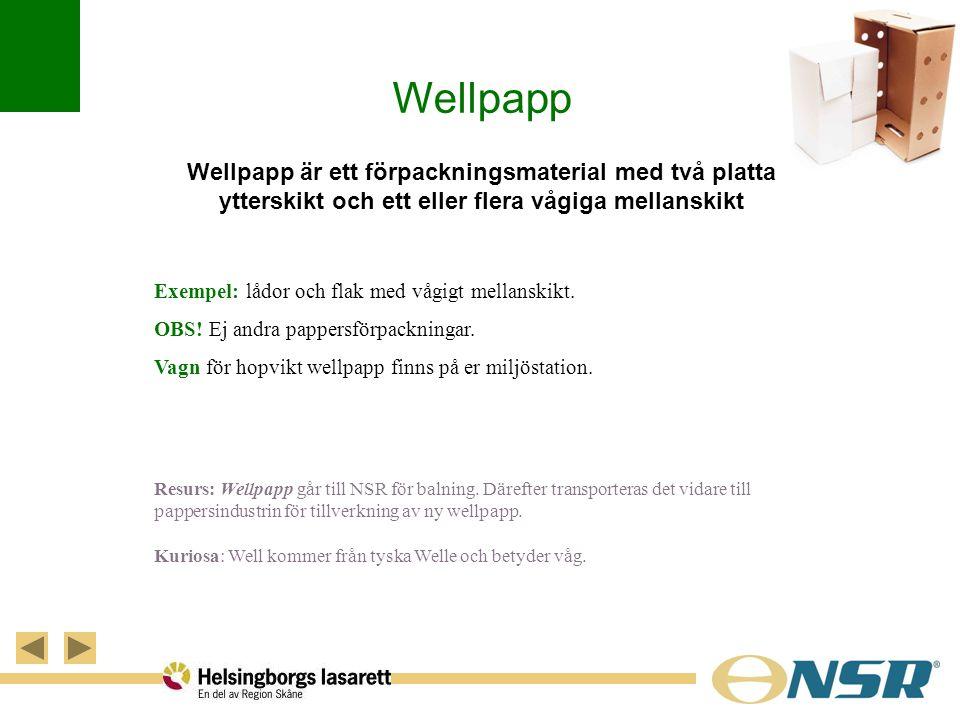 Wellpapp Wellpapp är ett förpackningsmaterial med två platta ytterskikt och ett eller flera vågiga mellanskikt Exempel: lådor och flak med vågigt mell