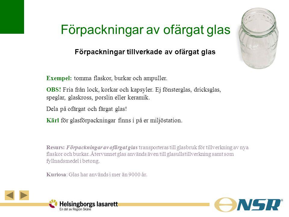 Förpackningar av ofärgat glas Förpackningar tillverkade av ofärgat glas Exempel: tomma flaskor, burkar och ampuller. OBS! Fria från lock, korkar och k