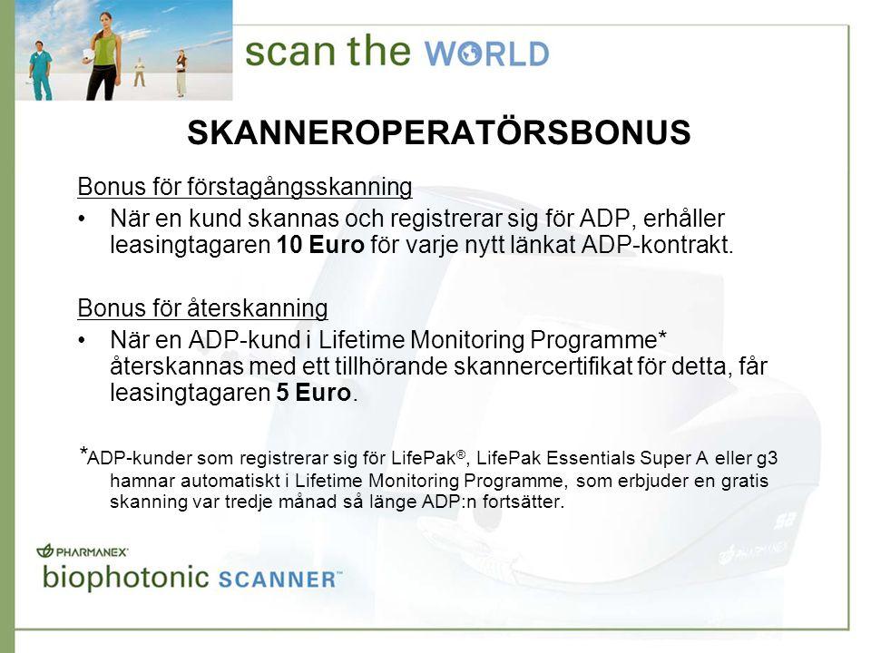SKANNEROPERATÖRSBONUS Bonus för förstagångsskanning •När en kund skannas och registrerar sig för ADP, erhåller leasingtagaren 10 Euro för varje nytt länkat ADP-kontrakt.