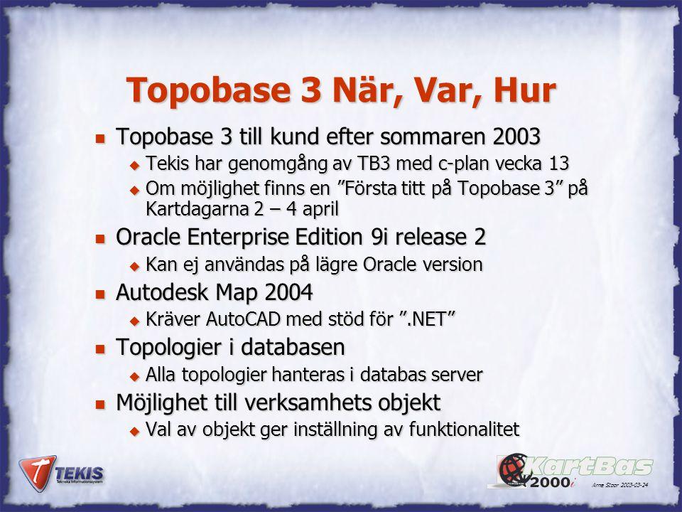 Arne Stoor 2003-03-24 Topobase 3 När, Var, Hur n Topobase 3 till kund efter sommaren 2003 u Tekis har genomgång av TB3 med c-plan vecka 13 u Om möjlighet finns en Första titt på Topobase 3 på Kartdagarna 2 – 4 april n Oracle Enterprise Edition 9i release 2 u Kan ej användas på lägre Oracle version n Autodesk Map 2004 u Kräver AutoCAD med stöd för .NET n Topologier i databasen u Alla topologier hanteras i databas server n Möjlighet till verksamhets objekt u Val av objekt ger inställning av funktionalitet