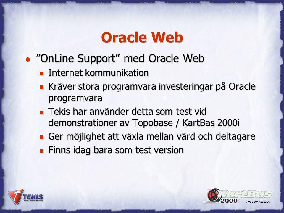 Arne Stoor 2003-03-24 Telia WebEx l OnLine Support med Telia WebEx n Internet kommunikation n Ingår som en del av Telia Telemöte Direkt tjänster n Telia Möte Direkt kostar 3.00 kr / minut n Telia WebEx kostar 1.50 kr / minut n Tekis har utfört interna tester av detta med Topobase / KartBas 2000i n Ger möjlighet att växla mellan värd och deltagare