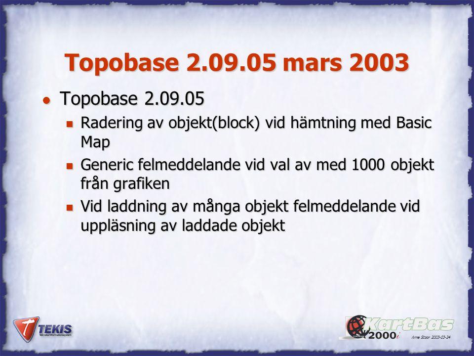 Arne Stoor 2003-03-24 Topobase 2.09.05 mars 2003 l Topobase 2.09.05 n Radering av objekt(block) vid hämtning med Basic Map n Generic felmeddelande vid val av med 1000 objekt från grafiken n Vid laddning av många objekt felmeddelande vid uppläsning av laddade objekt