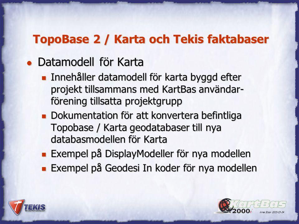Arne Stoor 2003-03-24 TopoBase 2 / Karta och Tekis faktabaser l Datamodell för Karta n Innehåller datamodell för karta byggd efter projekt tillsammans med KartBas användar- förening tillsatta projektgrupp n Dokumentation för att konvertera befintliga Topobase / Karta geodatabaser till nya databasmodellen för Karta n Exempel på DisplayModeller för nya modellen n Exempel på Geodesi In koder för nya modellen