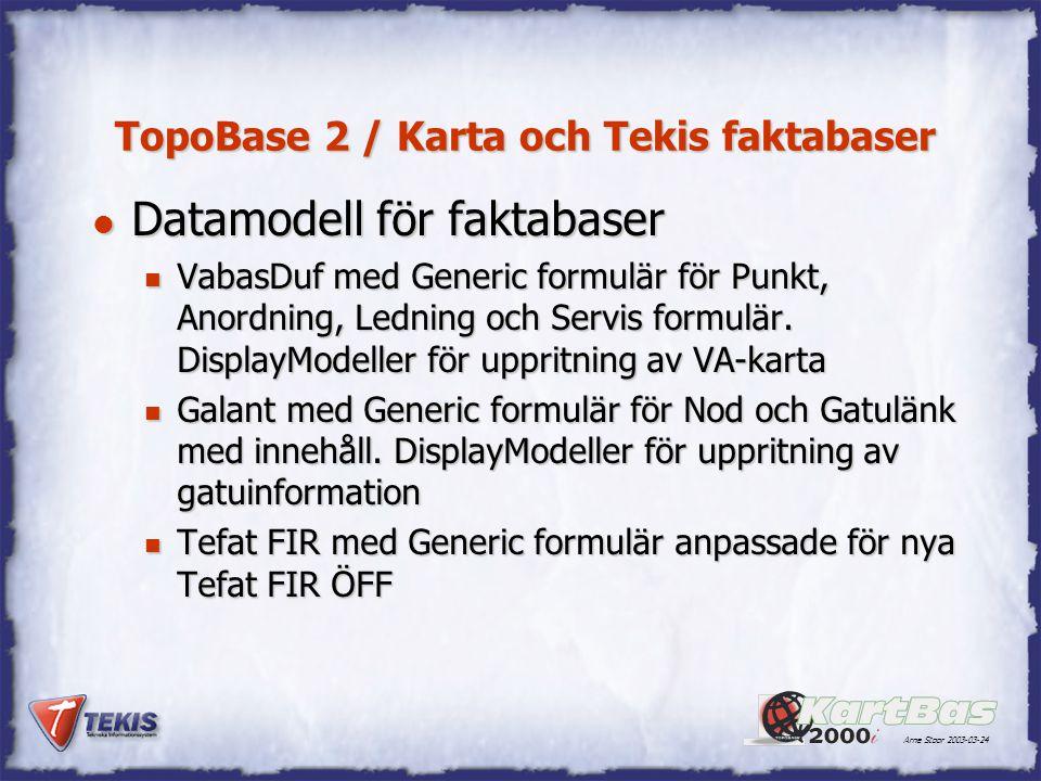 Arne Stoor 2003-03-24 TopoBase 2 / Karta och Tekis faktabaser l Datamodell för faktabaser n VabasDuf med Generic formulär för Punkt, Anordning, Lednin