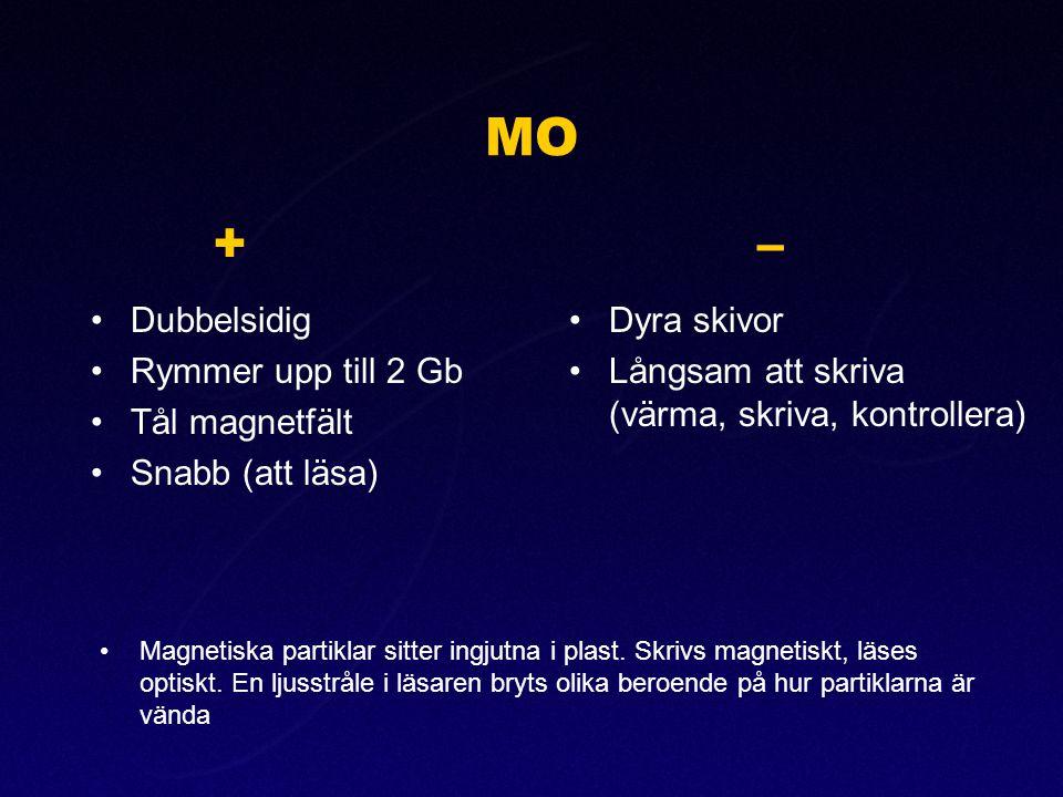 MO •Dubbelsidig •Rymmer upp till 2 Gb •Tål magnetfält •Snabb (att läsa) +– •Dyra skivor •Långsam att skriva (värma, skriva, kontrollera) •Magnetiska p
