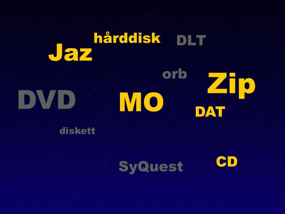 hårddisk DLT DAT DVD CD diskett Jaz orb Zip SyQuest MO
