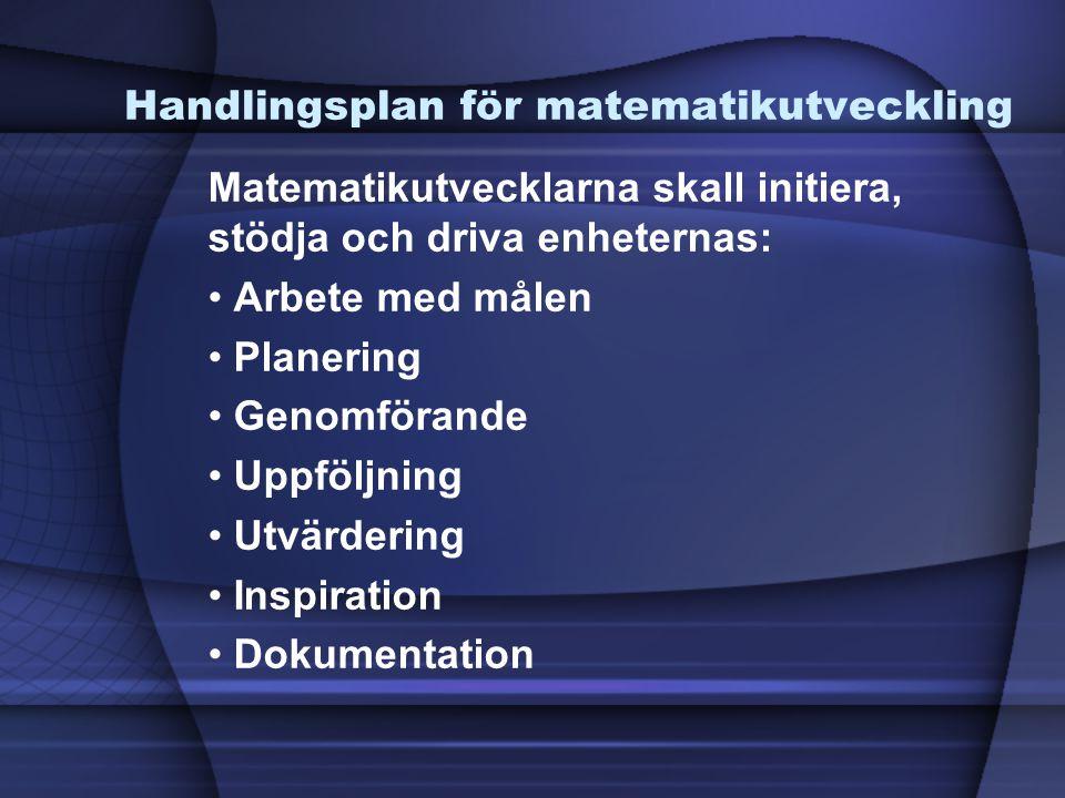Handlingsplan för matematikutveckling Matematikutvecklarna skall initiera, stödja och driva enheternas: • Arbete med målen • Planering • Genomförande • Uppföljning • Utvärdering • Inspiration • Dokumentation