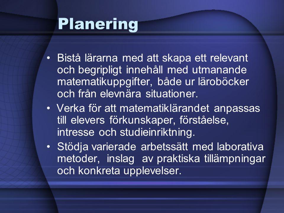 Planering •Bistå lärarna med att skapa ett relevant och begripligt innehåll med utmanande matematikuppgifter, både ur läroböcker och från elevnära situationer.