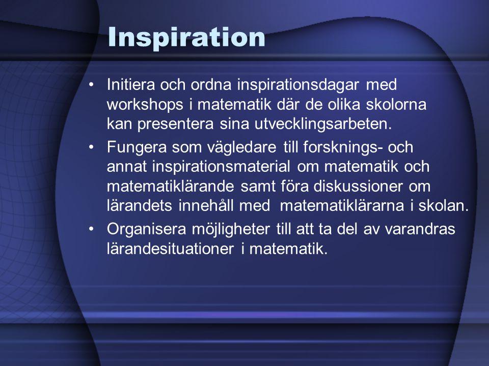 Inspiration •Initiera och ordna inspirationsdagar med workshops i matematik där de olika skolorna kan presentera sina utvecklingsarbeten.