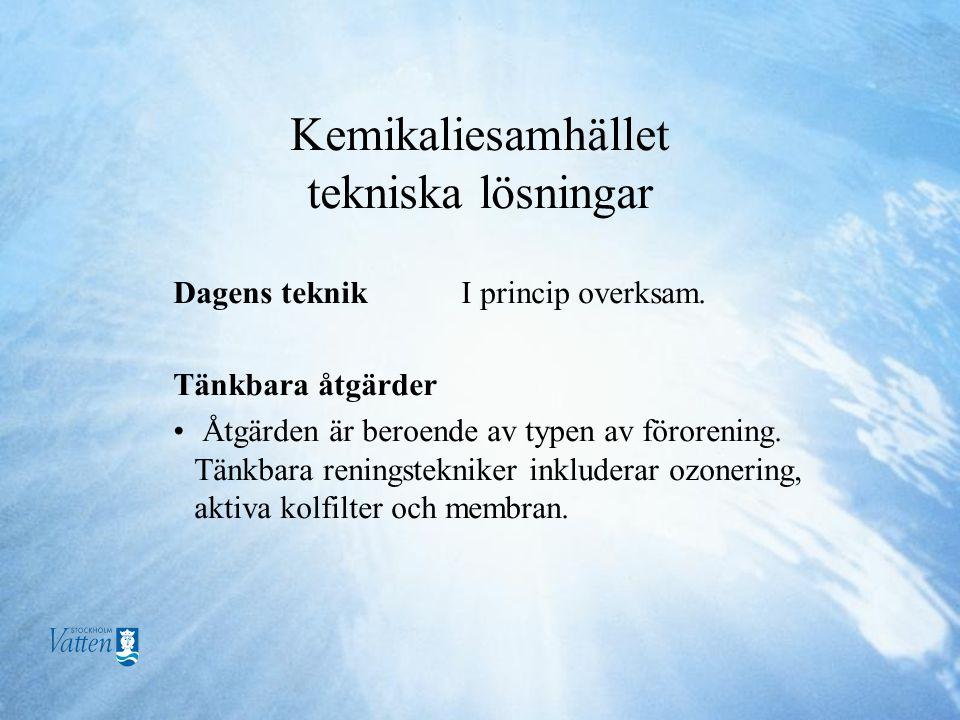 Kemikaliesamhället tekniska lösningar Dagens teknik I princip overksam.