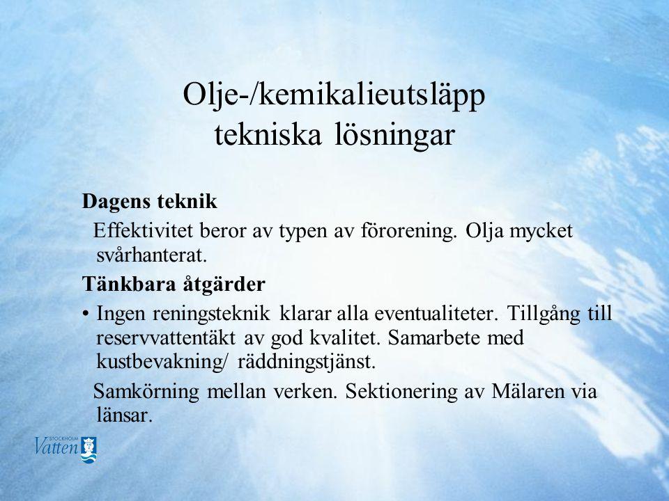 Olje-/kemikalieutsläpp tekniska lösningar Dagens teknik Effektivitet beror av typen av förorening.