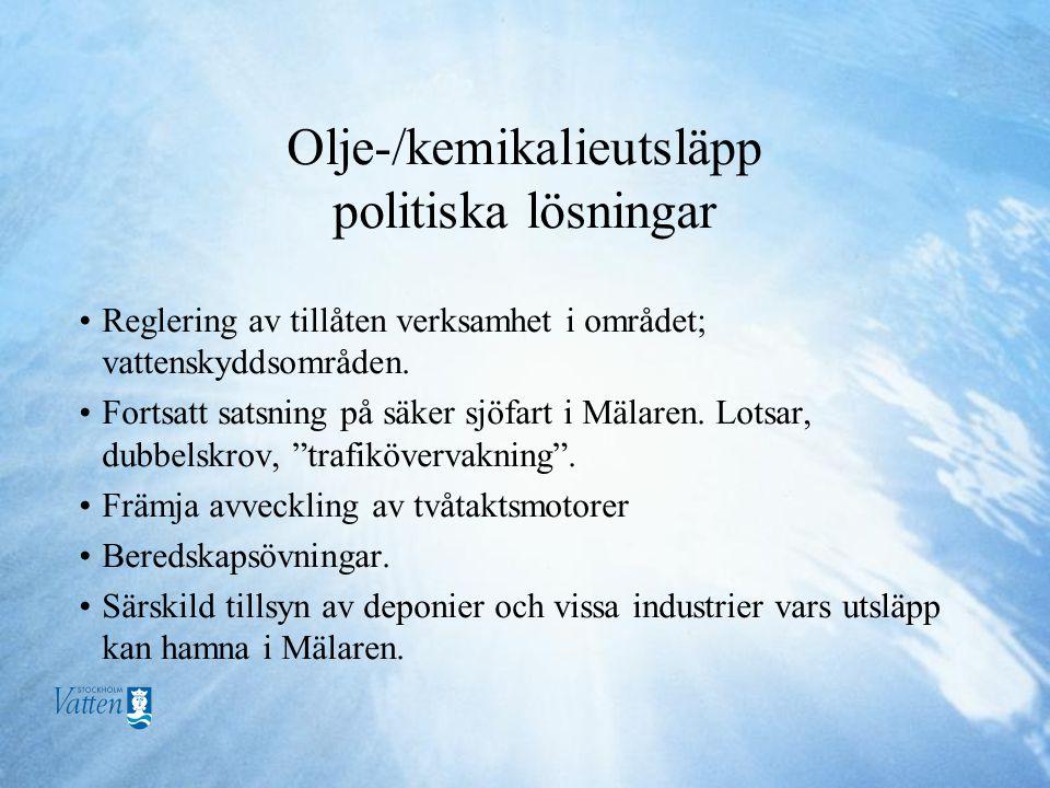 Olje-/kemikalieutsläpp politiska lösningar •Reglering av tillåten verksamhet i området; vattenskyddsområden.