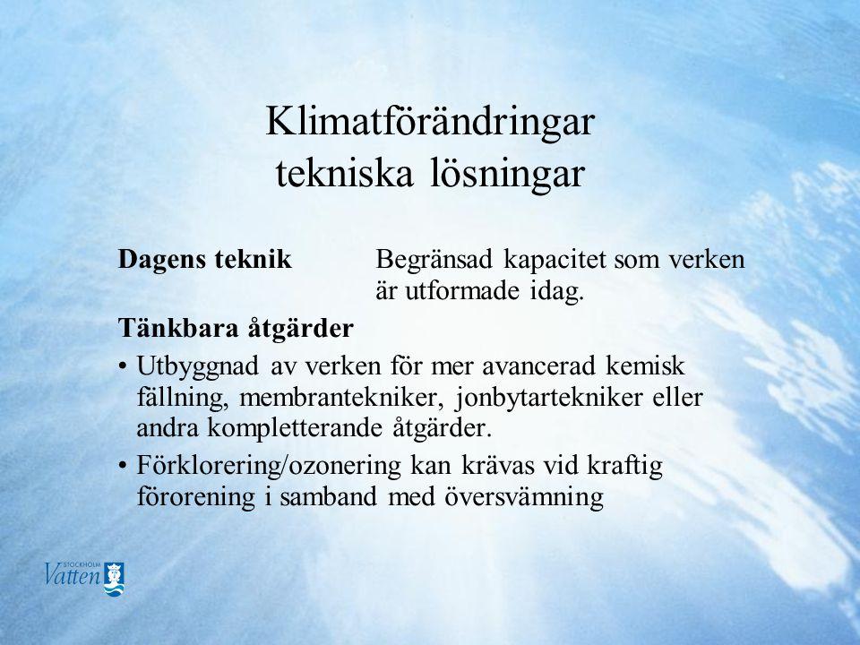 Klimatförändringar tekniska lösningar Dagens teknik Begränsad kapacitet som verken är utformade idag.