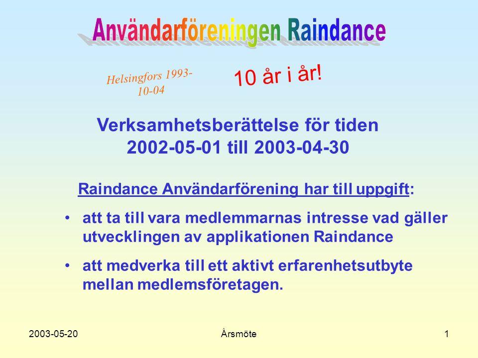 2003-05-20Årsmöte1 Verksamhetsberättelse för tiden 2002-05-01 till 2003-04-30 Raindance Användarförening har till uppgift: •a•att ta till vara medlemmarnas intresse vad gäller utvecklingen av applikationen Raindance •a•att medverka till ett aktivt erfarenhetsutbyte mellan medlemsföretagen.