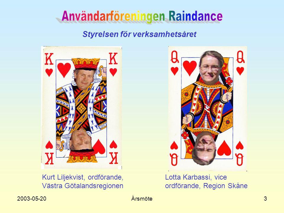 2003-05-20Årsmöte3 Styrelsen för verksamhetsåret Kurt Liljekvist, ordförande, Västra Götalandsregionen Lotta Karbassi, vice ordförande, Region Skåne