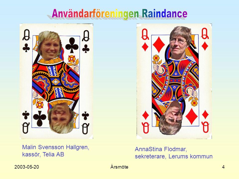 2003-05-20Årsmöte4 Malin Svensson Hallgren, kassör, Telia AB AnnaStina Flodmar, sekreterare, Lerums kommun